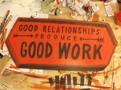 Good Work lettering sign type spotco painted