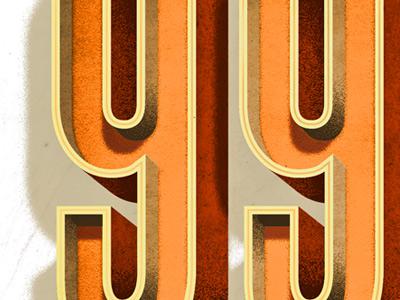 99 i like orange lettering texture dimensional