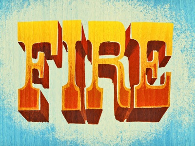 Fire type lettering texture drawn color fire western
