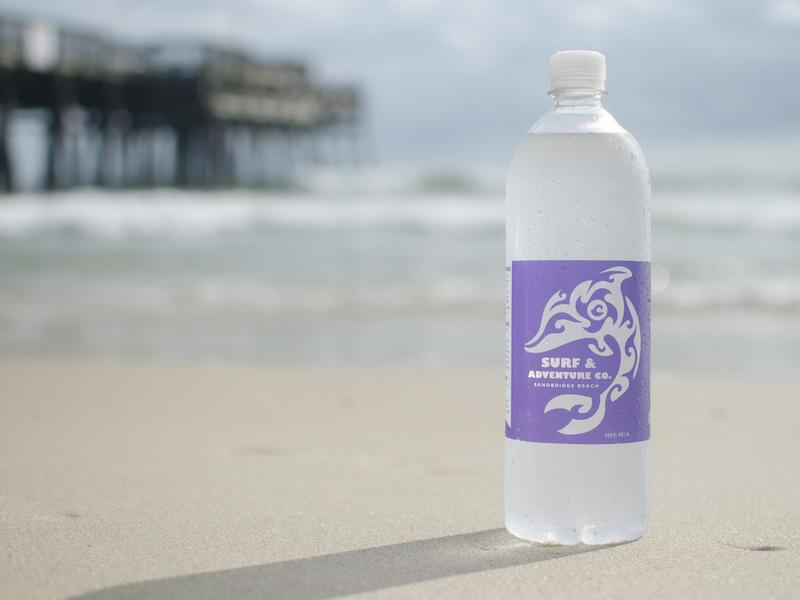 Surf & Adventure Dolphin Label beach surf water bottle branding package design label design