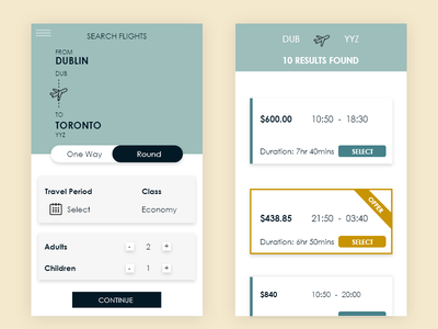Flight Search minimal customer experience 100daychallenge web ux daily ui challenge design daily challenge ui