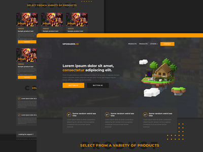Upgrader.io | Alt Account Store gaming website account selling shop store account minecraft ux ui illustration design