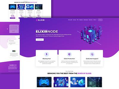 ElixirNode - Affordable Hosting Services minecraft hosting ui logo illustration design