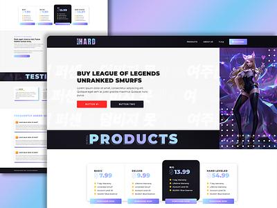 SmurfHard account account selling kda gaming ui hosting illustration design