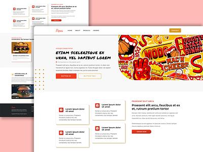 Pepos - Burger & Meat Patties red clean modern design modern website paties pattie ux ui logo hosting illustration design burger food
