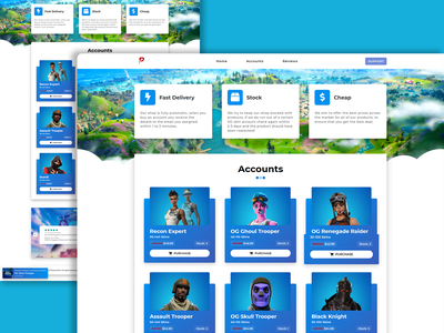 OGSkins - Fortnite Skin Store account account selling gaming website fortnite website ux logo hosting ui illustration design