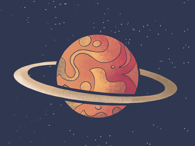 Planet illustration clean stars saturn dark drawing colors art illustraion space planet