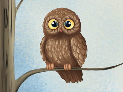 Owl illustration brown animals cute art illustration painter drawing colors owl