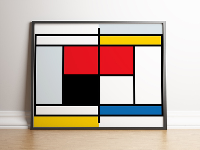 Mondrian Tennis Court Poster primary colors piet mondrian lines geometric mondrian tennis