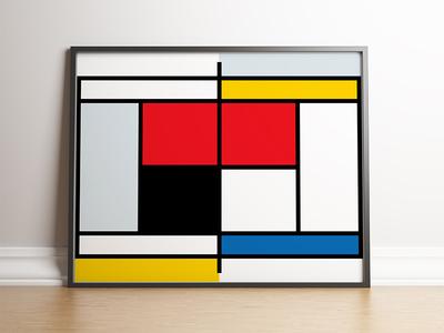 Mondrian Tennis Court Poster