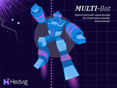 Multi-Bot Illustration virtual hybrid storage database server transformer robot illustration