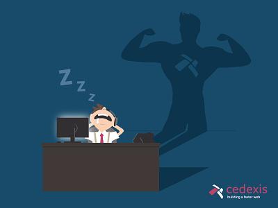 Help Desk Hero Graphic help telecomm telephone employee desk sleep shadow hero multi-cdn cdn call center call