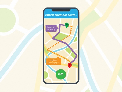 Fastest Download Route throughput latency illustration multi-cdn cdn navigation iphone x iphone download gps map route