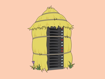 Straw Server Housing - The Big Bad Breach three little pigs straw server security secure nursery rhyme hay cybersecurity brick big bad wolf