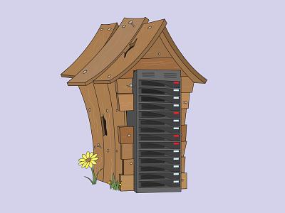 Wood Server Housing - The Big Bad Breach three little pigs nursery rhyme big bad wolf server security server wood cybersecurity illustration