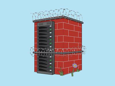 Brick Server Housing - The Big Bad Breach brick secure nursery rhyme three little pigs big bad wolf server cybersecurity security
