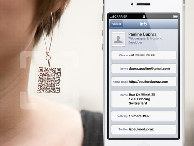 Scannable earrings scan earrings augmented reality iphone earring contact details vcard business card qr code augmented reality clever