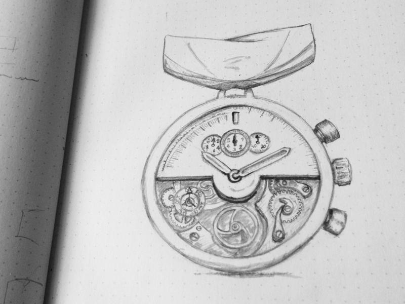 Watchmaking Master medal badge sketch rough idea watch mechanical mechanism illustration