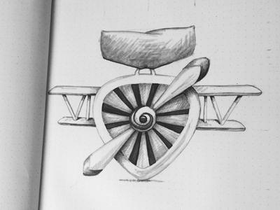 Biplane medal badge medal plane biplane idea sketch illustration rough
