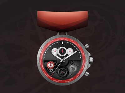 Watchmaking Master badge medal illustration photoshop watch mechanical mechanism time metal red texture ribbon