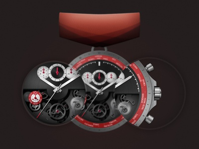 Watchmaking Master badge medal watch watchmaking red metal photoshop time zoom