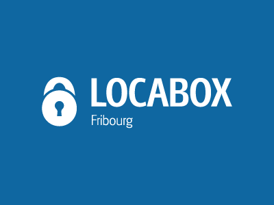 Locabox Fribourg Identity logo lock padlock blue identity vector security