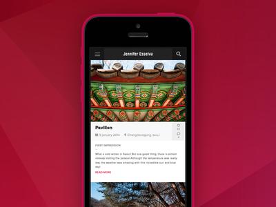 J.E photography blog flat blog mobile ios interface ui ux photo app web