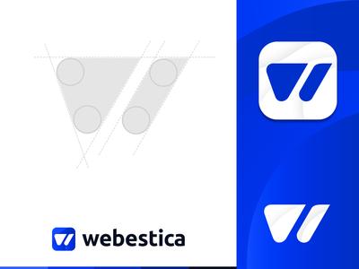 Webestica Logo Concept vector ui logodesign logoconcept logo illustration icon design branding blue and white blue webestica