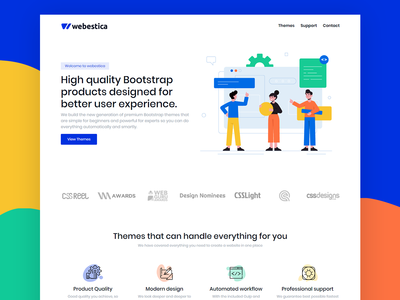 Webestica Home Page Concept vector html template colorful landing page concept landing page design theme illustration bootstrap theme bootstrap marketplace branding bootstrap 4 bootstrap blue and white webestica