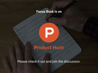 Focus Book on Product Hunt to do tasks design ui notebook book print product hunt ux kits ux