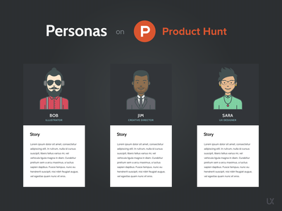 Personas on Product Hunt illustration ux kits ux  ui uxui uxdesign adobe xd figma sketch user experience mockups downloads templates product hunt personas persona ux design ux