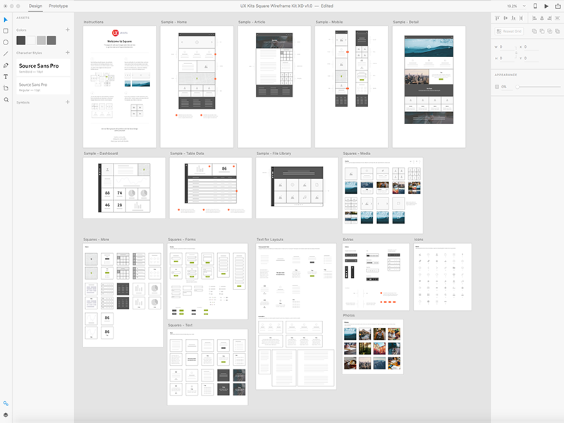 Square for OmniGraffle and XD kit xd omnigraffle ui design ux kits layout website ux wireframe wireframes