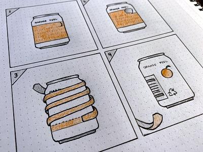 Orange Peel Soda (Dribbble Weekly Warmup) ux package packaging design rebound packaging dribbbleweeklywarmup