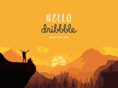 Hello Dribbble! typography illustration shot hello dribbble debut