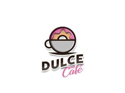 Dulce Cafe ilustrador diseño de logo icono logotipo marca logodesign tipografía diseño ilustración plano diseño plano art logo