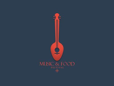 Music & Food vector branding logodesign flatdesign design ilustrador illustration icono diseño ilustración plano logotipo diseño plano tipografía diseño de logo marca art logo