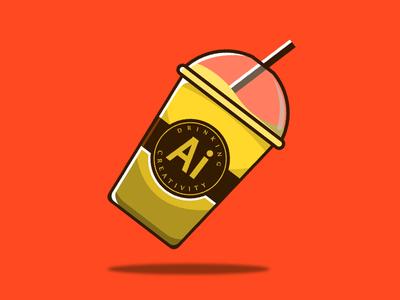 Drinking Creativity Ai ux icono diseño ilustración plano logotipo diseño plano tipografía diseño de logo marca art logo
