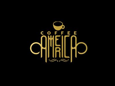 Coffee America vector ilustrador illustration icono diseño ilustración plano logotipo diseño plano tipografía diseño de logo art marca logo