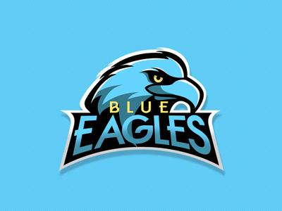 Blue Eagles logotipo ilustrador icono plano ilustración diseño plano tipografía diseño de logo marca art º logo