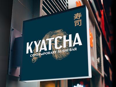 Kyatcha - Signing lettering business card collateral nozem design color palette logo layout menu design menu brand identity illustration typography branding bar sushi japanese restaurant branding restaurant signing sign