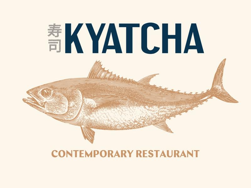 Kyatcha - Contemporary Restaurant restaurant branding badge japan japanese bar sushi nozem design color palette illustration logo type typography artwork fish restaurant layout menu design menu branding brand identity
