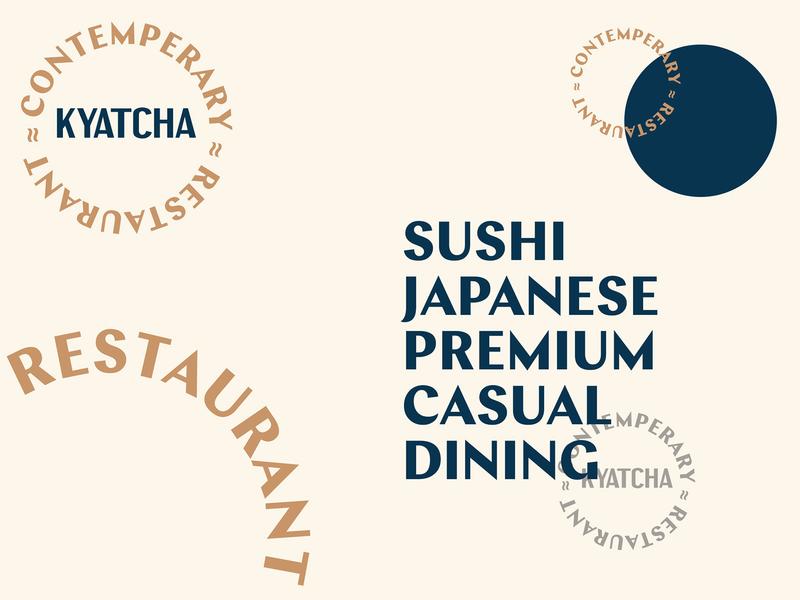 Kyatcha - Typography Explorations abstract lettering restaurant branding japanese bar sushi nozem design color palette illustration logo type typography artwork fish restaurant layout menu design menu branding brand identity