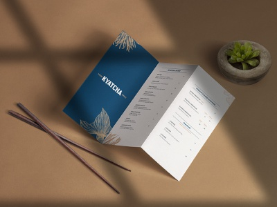 Kyatcha - Menu Card lettering business card collateral restaurant branding japanese bar sushi nozem design color palette illustration logo typography fish restaurant layout menu design menu branding brand identity