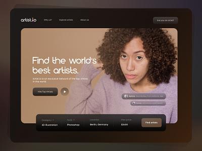 Artist.io – Freelancing Website UI Design hire illustrators website hire talent hero page animation ui design website design hiring website freelancing website landing page