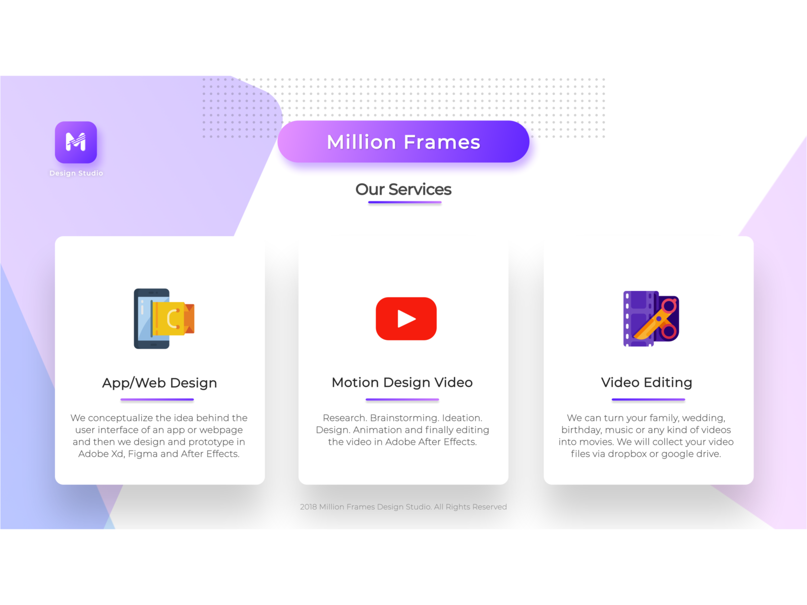 Million Frames Design Studio Portfolio by Aashish Million | Dribbble ...