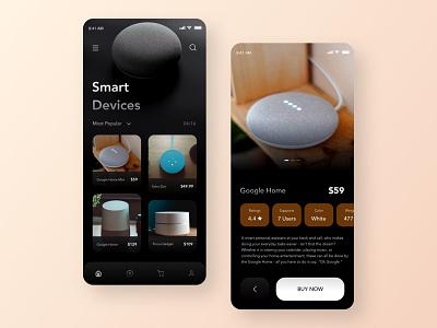 Smart Devices Ecommerce App UI alexa google home black minimal clean design app design ai ecommerce voice controlled smart devices home automation trend 2019 ux designer ui designer