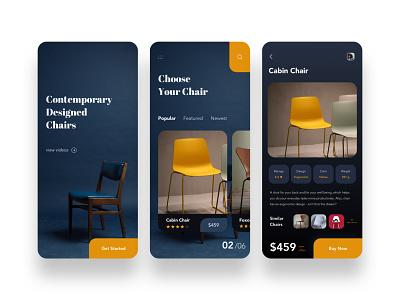 Contemporary Designed Chairs E-commerce UI uidesign orange yellow furniture store furniture design furniture chair selling shop ecommerce shop ecommerce uiux appdesign ux ui