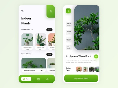 Indoor Plants App UI Design 2019 trend app design uxdesign plants app flowers app minimal clean trending visual design uidesign 2019 design trend popular design product designer