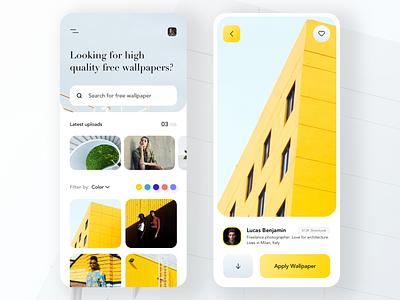 Wallpapers App UI Design wallpaper download visual design architechture minimal clean design trendy design popular yellow uxdesign uidesign 2019 trends 2019 design trend