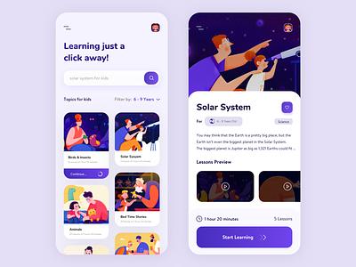 Kids Learning App UI Design visual design ui design ux design violet purple popular trending graphics popular design education app design kids app ed-tech learning app education app popular 2019 design trend
